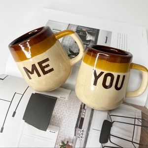 Vintage Me & You Stoneware Mug Set
